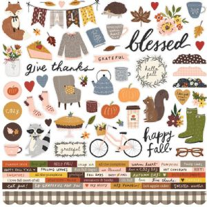 Simple Stories - Cozy Days - 12 x 12 Combo Sticker Sheet